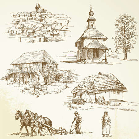 country church: rural landscape, agriculture - hand drawn collection Illustration