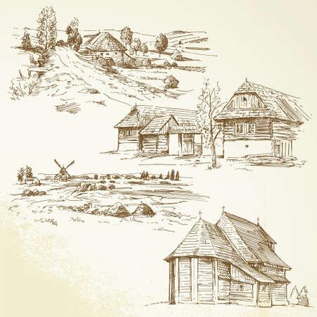 cabaña: paisaje rural, la agricultura - dibujado a mano colección