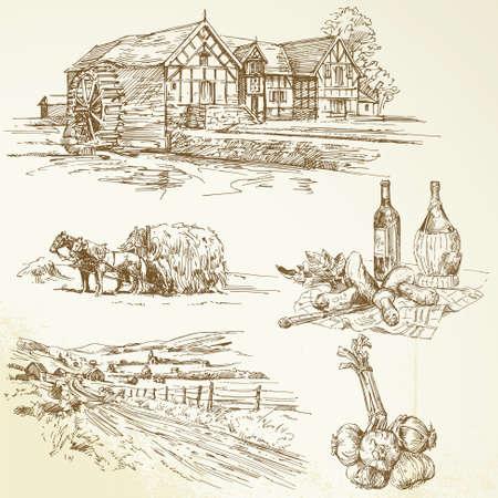 農村景観、農業、古い水車小屋 - 手描き下ろしコレクション  イラスト・ベクター素材