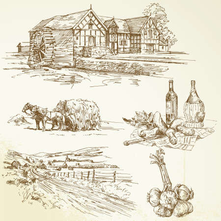 molino de agua: paisaje rural, la agricultura, el antiguo molino de agua - colección dibujado a mano Vectores