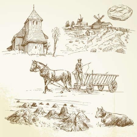 molino de agua: paisaje rural, agricultura, cosecha de heno - dibujado a mano colección