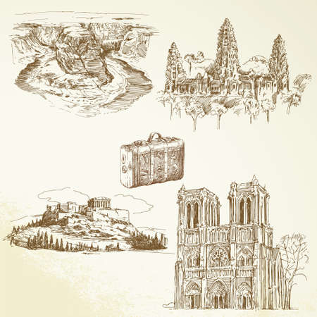 Reisen auf der ganzen Welt - Hand gezeichnete Sammlung