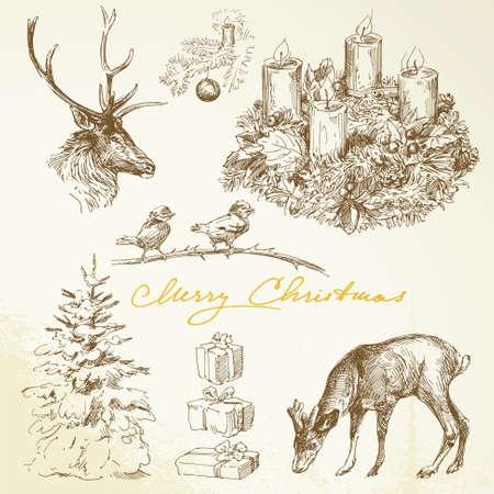 corona de adviento: Dibujado a mano la tarjeta de Navidad con la guirnalda de adviento Vectores