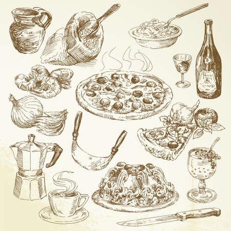 手描きのピザ セット  イラスト・ベクター素材