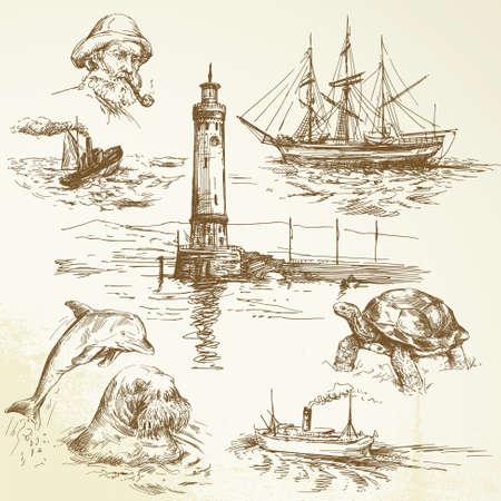 手描きの海事の要素  イラスト・ベクター素材