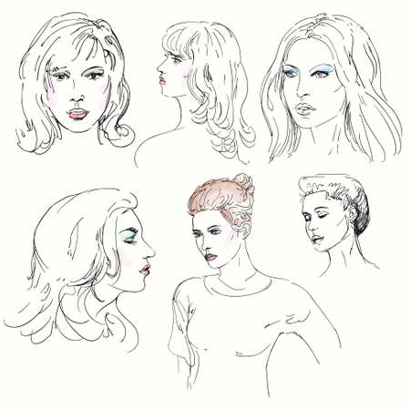 ink pen: woman s  face - hand drawn illustration