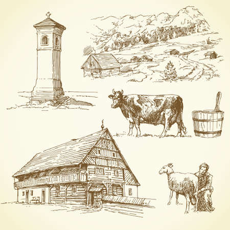 country house: rural landscape, agriculture - hand drawn collection  Illustration