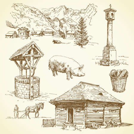 farm house: rural landscape, agriculture - hand drawn collection  Illustration