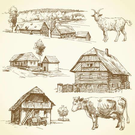 cabras: paisaje rural, la agricultura - dibujado a mano colección