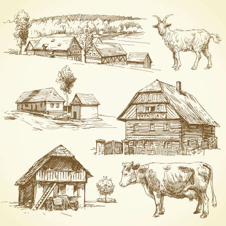 paysage rural, de l'agriculture - hand drawn collection