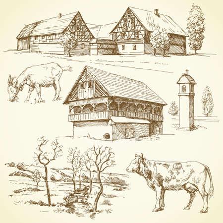 folk village: rural landscape, agriculture - hand drawn collection  Illustration