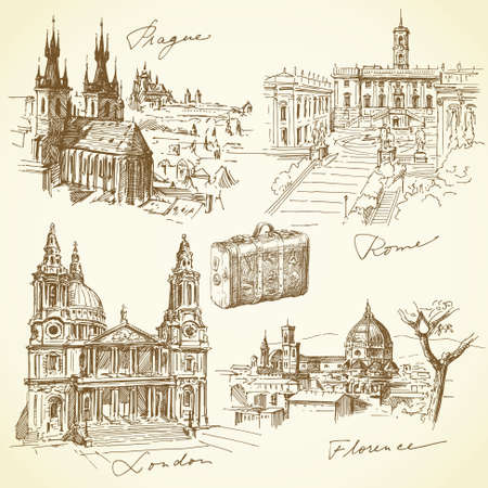 travel over the europe - hand drawn collection  Ilustração
