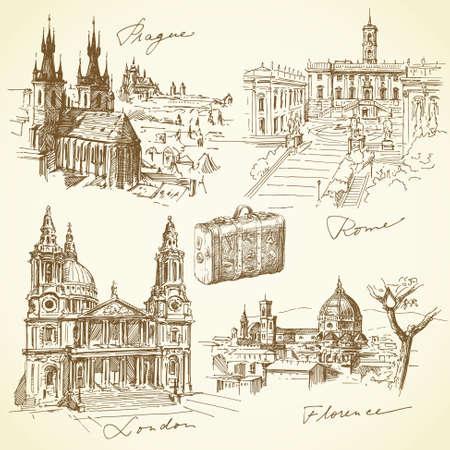 viaje a través de Europa - colección dibujado a mano