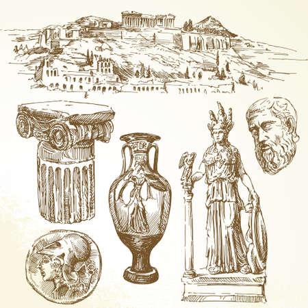antigua grecia: colección de dibujado a mano - la antigua Grecia