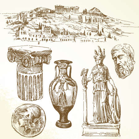 amphora: hand drawn collection - ancient greece