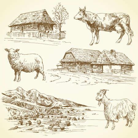 ensemble dessinés à la main - paysage rural, village, animaux de la ferme