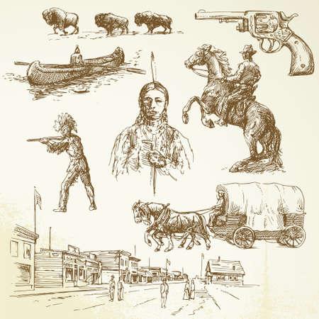 vaquero: salvaje oeste - dibujado a mano set Vectores