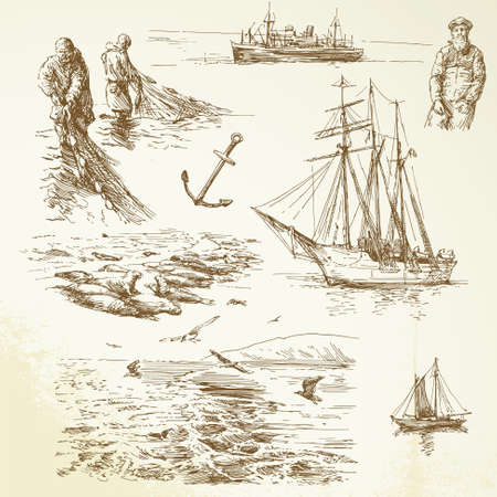 fisherman boat: nautical set - hand drawn collection Illustration