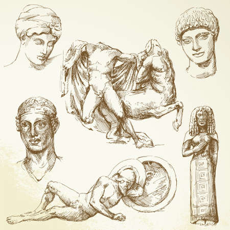 ancient greece: hand drawn collection - ancient greece