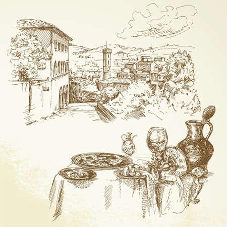 schets: wijn, wijngaard, Toscane - getrokken hand collectie
