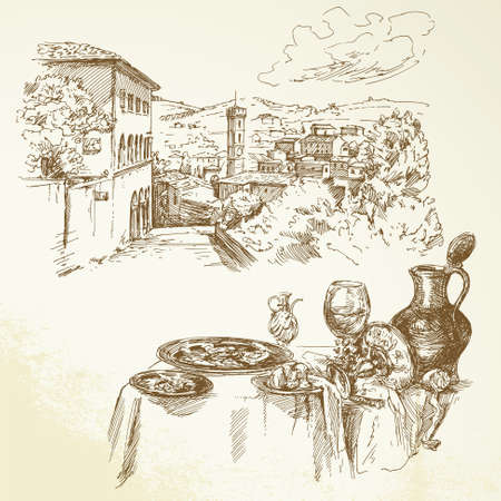 tuscany landscape: wine, vineyard, Tuscany - hand drawn collection