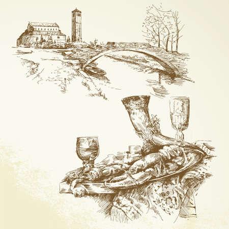 イタリア、トスカーナ - 手描き下ろしコレクション