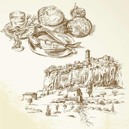 tuscany vineyard: Italy, Tuscany - hand drawn collection