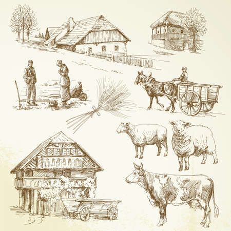 agriculture field: hand drawn set - rural landscape, village, farm animals