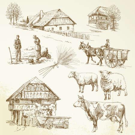 hand drawn set - rural landscape, village, farm animals