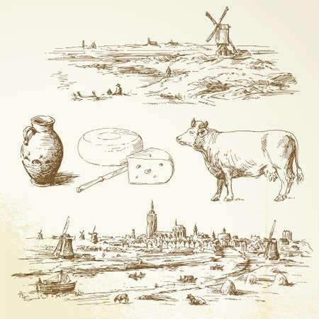 the netherlands: holland molen - hand getrokken illustratie