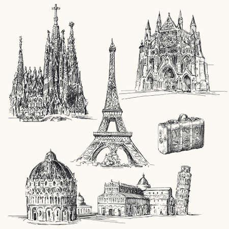 pisa: reizen over heel Europa - de hand getekende collectie Stock Illustratie