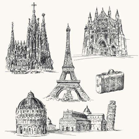 sagrada familia: travel over Europe  - hand drawn collection