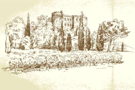 villa: Vineyard France - hand drawn illustration