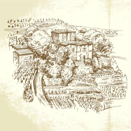 ぶどう畑のフランス - 手描きイラスト
