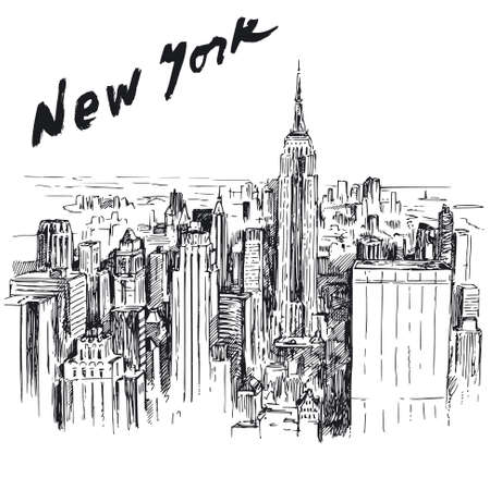 city skyline night: New York - hand drawn illustration