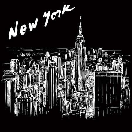 뉴욕 - 손으로 그린 그림