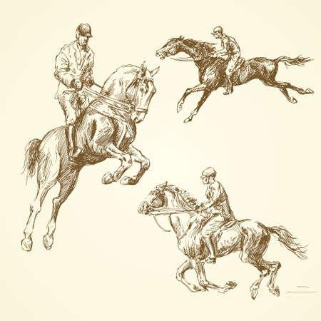 silueta ciclista: caballos dibujados a mano