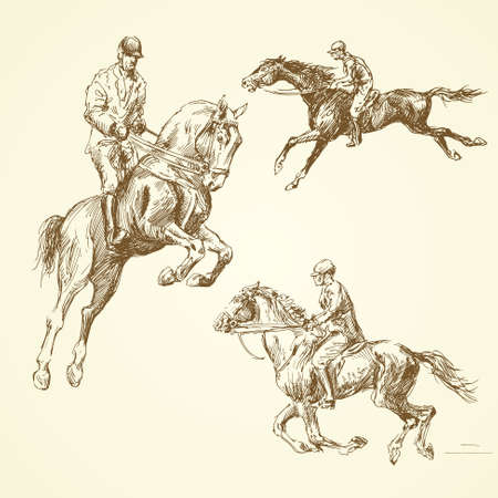 equestrian sport: hand drawn horses Illustration