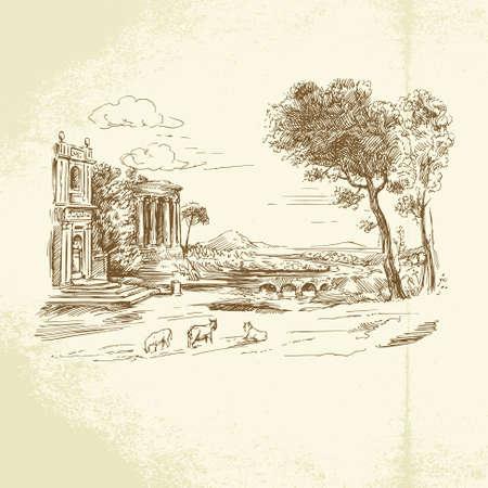 romantic landscape Ilustrace