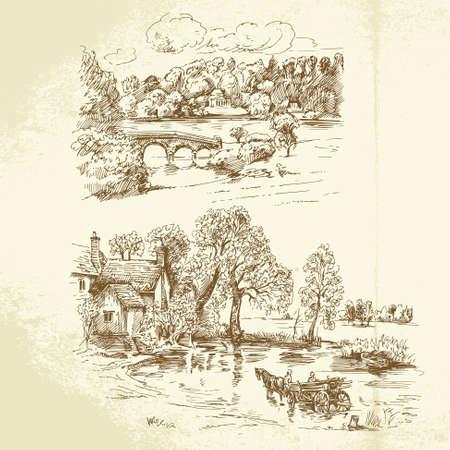 horse drawn: romantic landscape Illustration