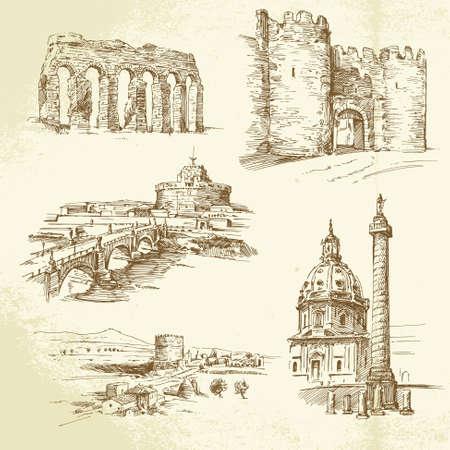 kopule: Řím - ručně malovaná sada Ilustrace