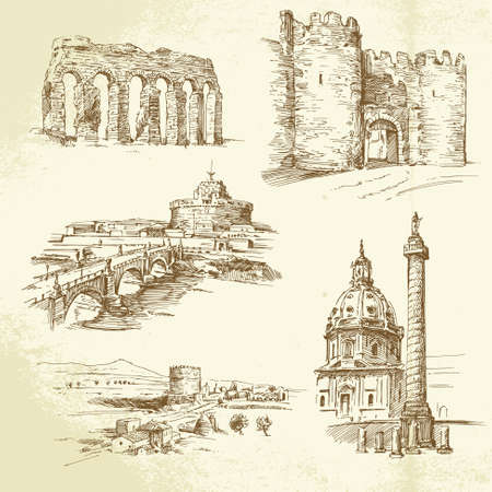 history architecture: Rome - hand drawn set Illustration