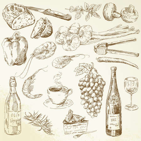 Lebensmittel-Sammlung - Zeichnung