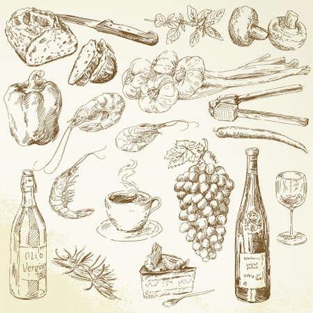 basil herb: recogida de alimentos - Dibujo Vectores