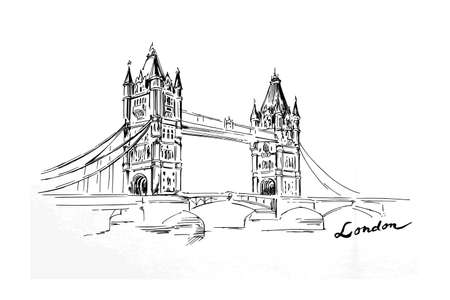 london tower bridge: London - hand drawn bridge
