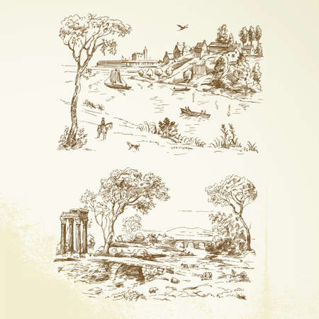 romantic landscape - hand drawn collection Vector