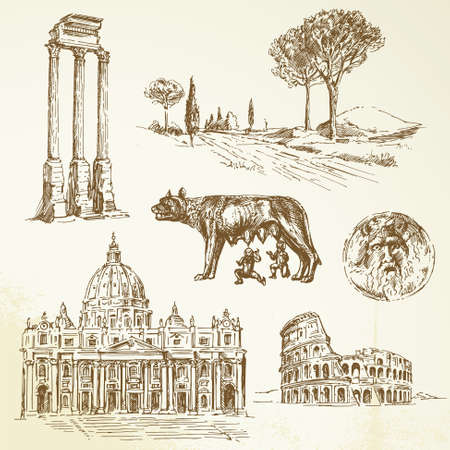 the romans: Italy - Rome - hand drawn collection