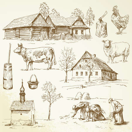 lady cow: farm, rural houses - hand drawn collection