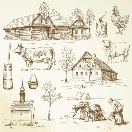 Granja, casas rurales - colección dibujado a mano Foto de archivo - 20628238