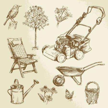 庭いじりをする-手描きセット  イラスト・ベクター素材